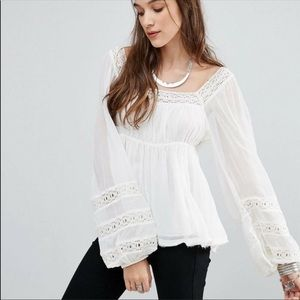 Free People Ivory Moon Chaser Boho Peasant Top